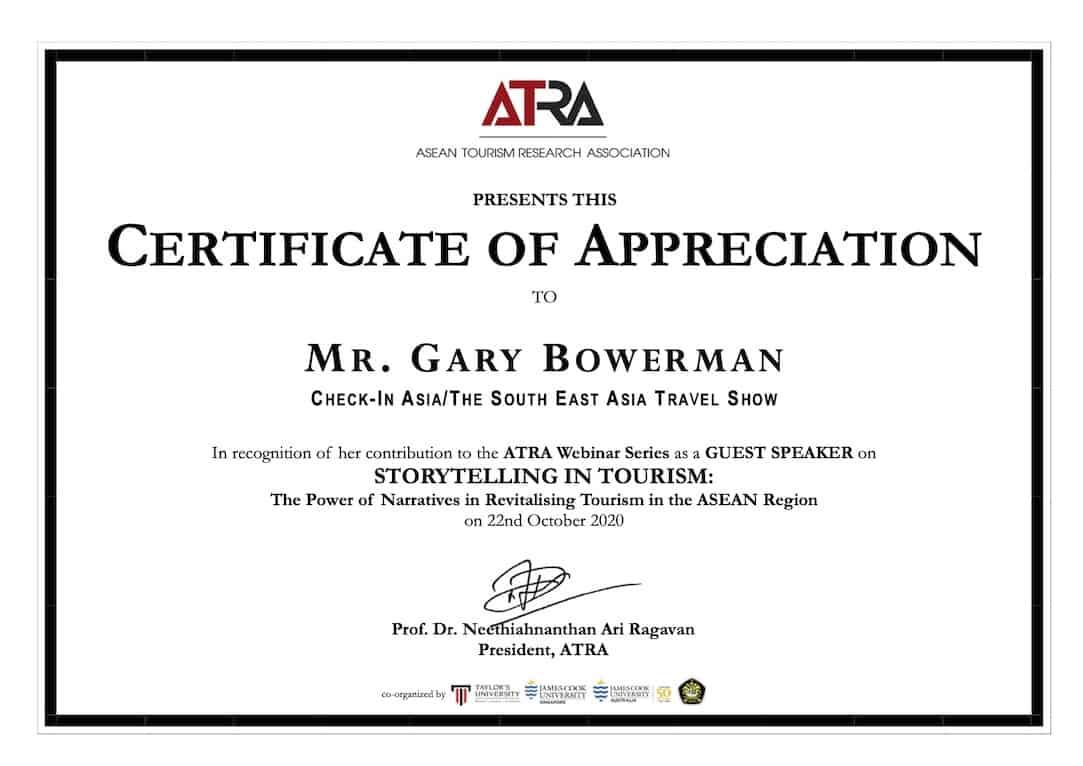 Gary Bowerman ATRA Certificate 2020